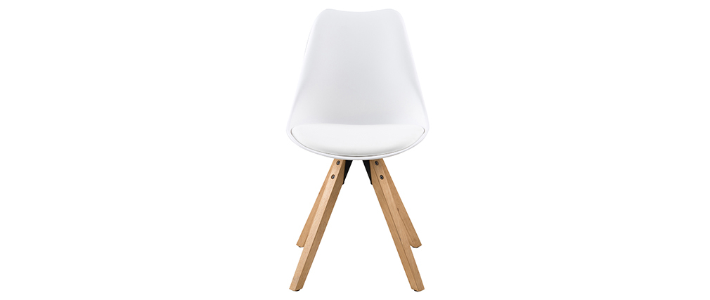 NADJA set of 2 white designer chairs with light wooden legs