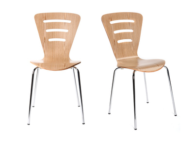 Natural Modern Wood Stackable Chairs LENA (set of 2)