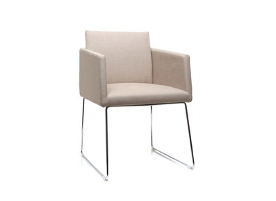 Natural Polyester and Chromed Steel Modern Chair NEORA