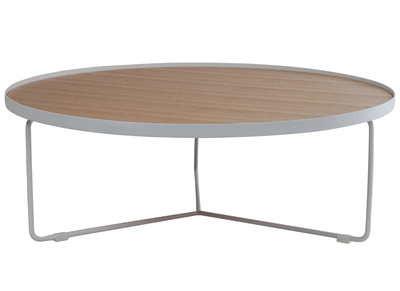 Natural Wood and White Metal Modern Round Coffee Table SISKA 100cm