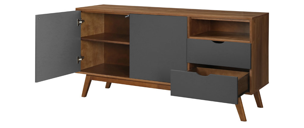 NEELA charcoal grey and walnut sideboard