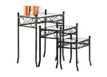 Nest of 3 steel and tempered glass tables