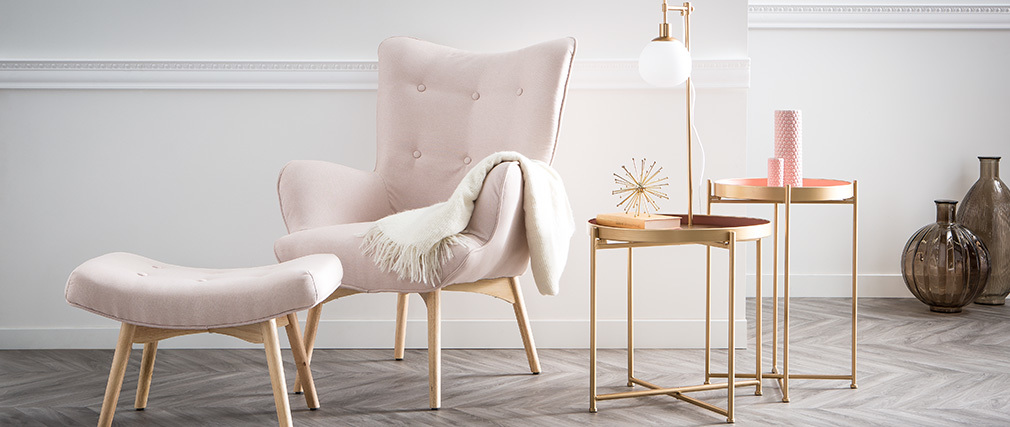 Nesting side tables golden and pink PINKS