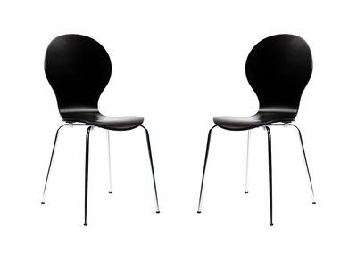 NEW ABIGAIL Black Modern Stackable Chairs (set of 2)