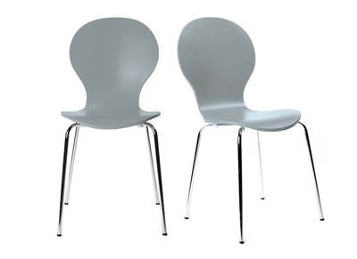 NEW ABIGAIL Grey Stackable Modern Chair (set of 2)