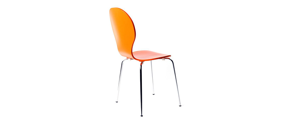 NEW ABIGAIL Orange Modern Stackable Chairs (set of 2)