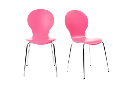 NEW ABIGAIL Pink Modern Stackable Chairs (set of 2)