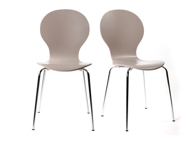 NEW ABIGAIL Taupe Modern Stackable Chairs (set of 2)
