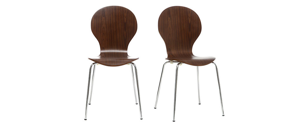 NEW ABIGAIL Walnut Stackable Modern Chair (set of 2)
