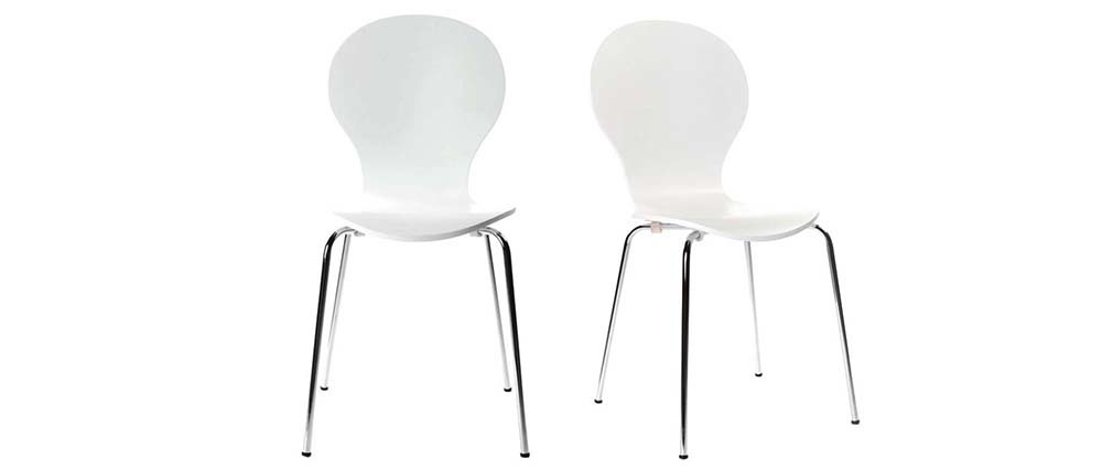 NEW ABIGAIL White Modern Stackable Chairs (set of 2)