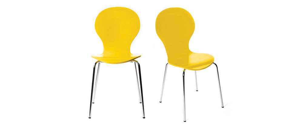 NEW ABIGAIL Yellow Stackable Modern Chair (set of 2)