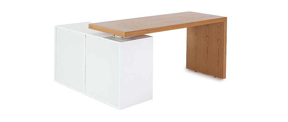 NEW MAX Glossy White and Ash Modern Adjustable Desk