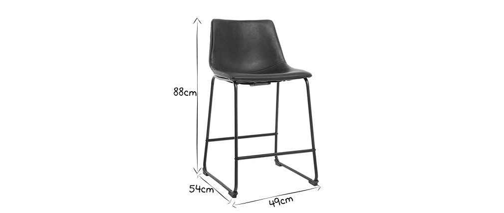 NEW ROCK Black Vintage Bar Stool 63 cm PU (set of 2)