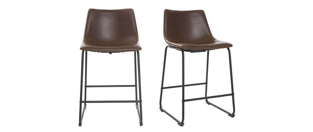 NEW ROCK Brown Vintage Bar Stool 61 cm PU (set of 2)