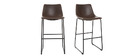 NEW ROCK Brown Vintage Bar Stool 73cm PU (set of 2)