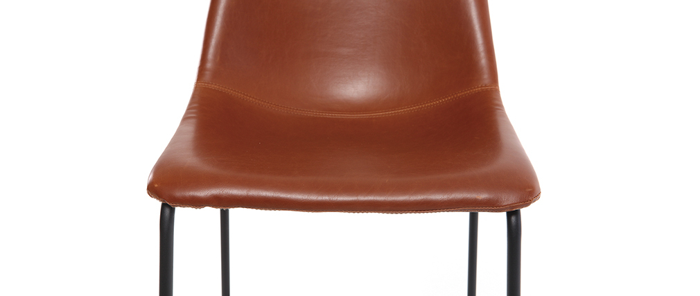 NEW ROCK Light Brown Vintage Bar Stool 73cm PU (set of 2)