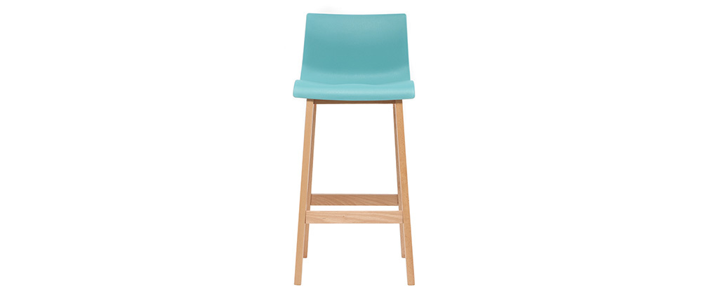 NEW SURF set of 2 65cm wooden and teal bar stools