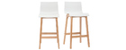 NEW SURF set of 2 65cm wooden and white bar stools