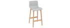 NEW SURF set of 2 75cm wooden and light grey bar stools