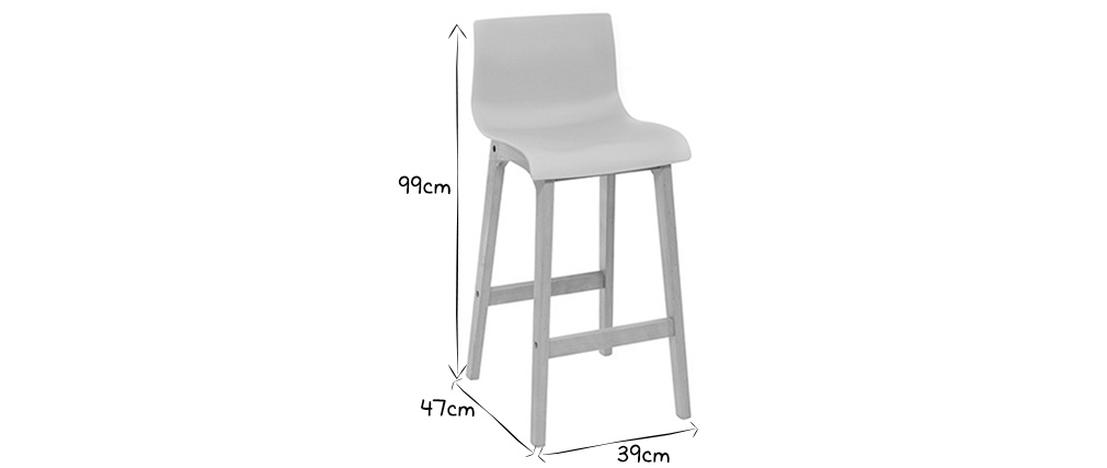NEW SURF set of 2 75cm wooden and white bar stools