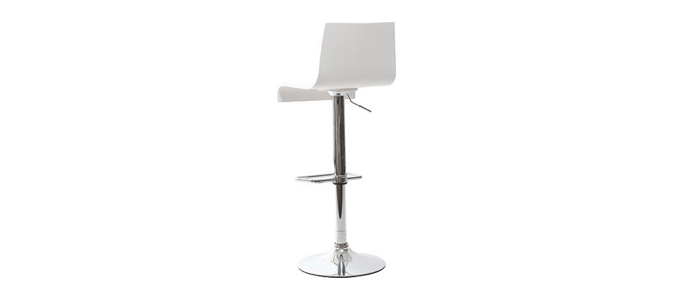 NEWSURF White Modern Bar/Kitchen Stool (set of 2)