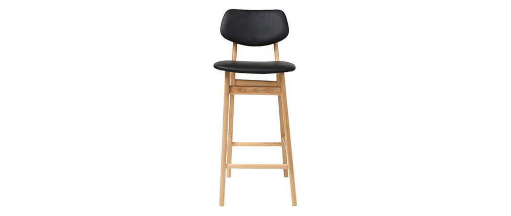 NORDECO Black and Natural Wood Modern Bar Chair/Stool 65cm