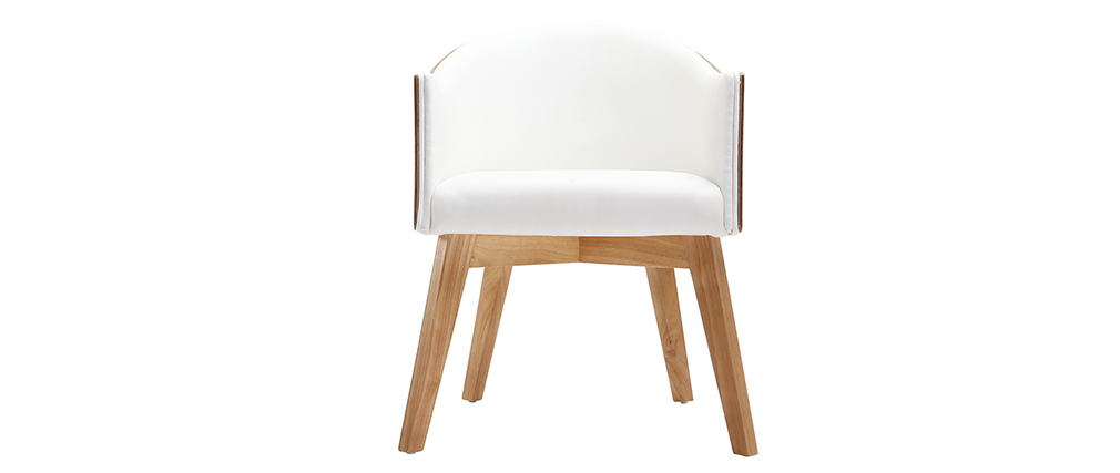 NORDECO designer light wood and white PU armchair