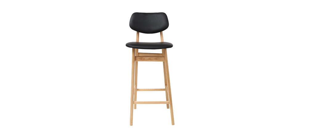 NORDECO Natural Wooden and Black Modern Bar Chairs/Stools