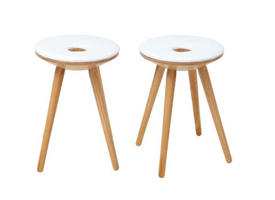 NORDECO Natural Wooden and White Modern Stools (set of 2)
