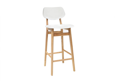 NORDECO White and Natural Wood Modern Bar Chair/Stool 65cm