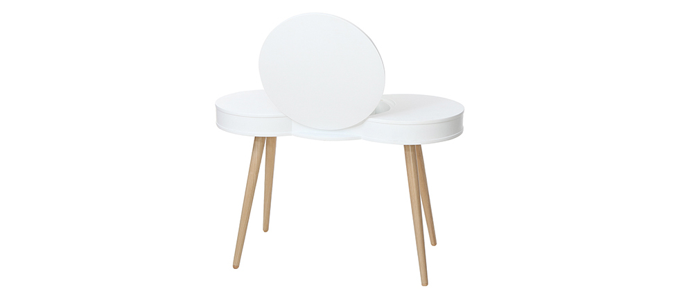 NUBE Scandinavian white wooden dressing table with round mirror