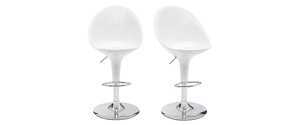 OEUF White Modern Bar/Kitchen Stool (set of 2)