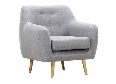 OLAF armchair in pearl grey fabric and light wood