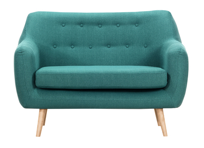 OLAF designer 2-seater sofa in teal with light wooden legs
