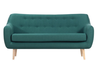 OLAF designer 3-seater sofa in teal fabric with light wooden legs