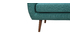 OLAF designer 3-seater sofa in teal with walnut legs