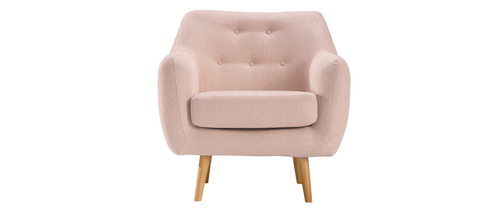 OLAF designer armchair in dusty pink with light wooden legs