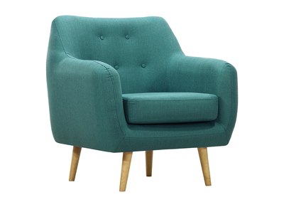 OLAF designer armchair in teal with light wooden legs