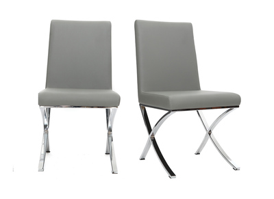 ORA set of 2 grey polyurethane and chromed steel designer chairs