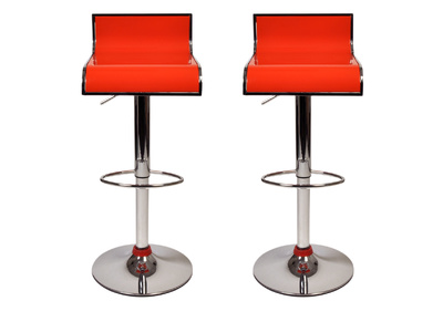 Orange Modern Bar/Kitchen Stool WAVES (set of 2)