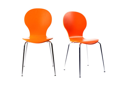 Orange Modern Stackable Chairs NEW ABIGAIL (set of 2)