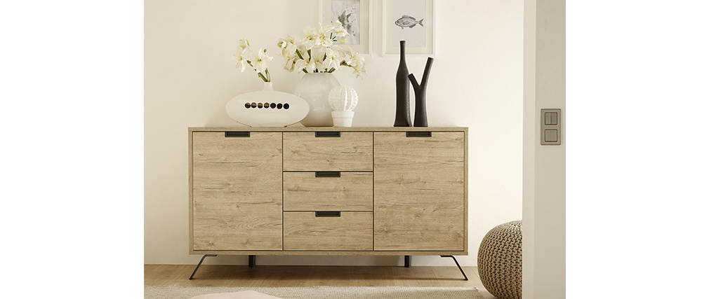 ORIGIN Modern Oak 2 Door,3 Drawer Sideboard
