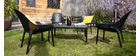 OSKOL designer black stackable chairs suitable both inside and outside (set of 4)