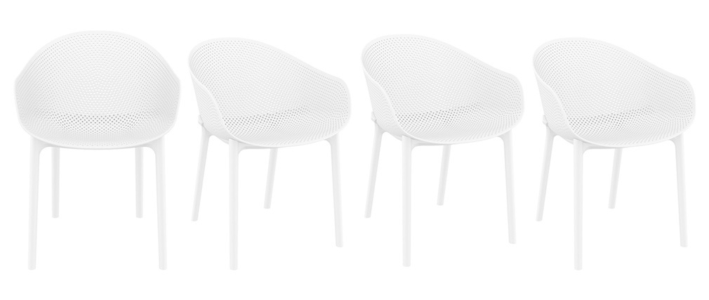 OSKOL designer white stackable chairs suitable both inside and outside (set of 4)