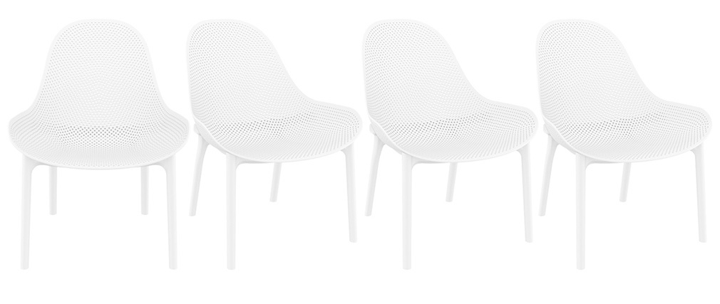 OSKOL white stackable lounge chairs suitable both inside and outside (set of 4)