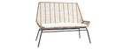 Outdoor bench in synthetic rattan resin wire TANGO