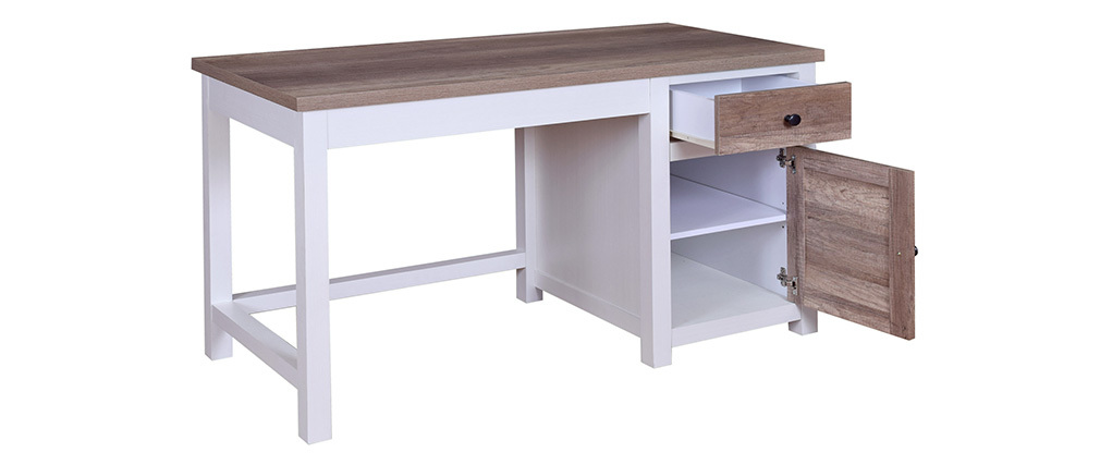 PAGNOL white and wooden desk with storage