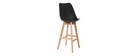 PAULINE Black and Wood Modern Bar Stool (set of 2)