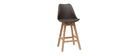 PAULINE Chocolate Brown and Wood Modern Bar Stools 65cm (set of 2)