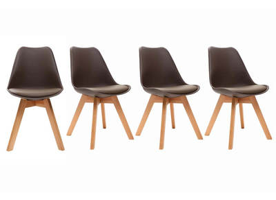 PAULINE Chocolate Brown Modern Chair (set of 4)